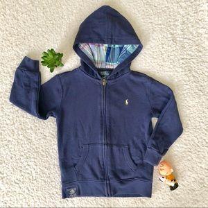 Ralph Lauren Blue Zip Up Hoodie Boys 4T